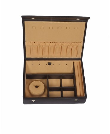 ZINT GENUINE LEATHER BROWN TRAVEL JEWELRY BOX TRINKET CASE RINGS PENDANTS ORGANIZER