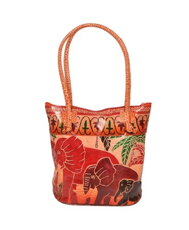 ZINT HAND TOOLED PAINTED PURE LEATHER SHANTINIKETAN ETHNIC BOHO WOMEN'S PURSE HANDBAG SHOULDER TOTE / ELEPHANT BAG