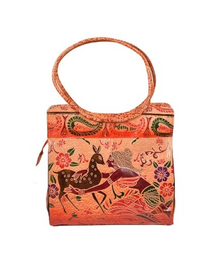 ZINT HAND TOOLED PAINTED PURE LEATHER SHANTINIKETAN ETHNIC BOHO WOMEN'S LARGE PURSE HANDBAG SHOULDER TOTE BAG / DEER BAG