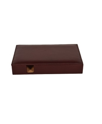 ZINT PURE LEATHER BROWN VALET TRAY/OFFICE ORGANISER
