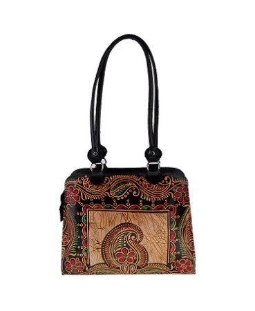 ZINT GENUINE LEATHER SHOULDER BAG PURSE HANDBAG TOTE BAG SHANTINIKETAN BOHO ETHNIC BATIK DESIGN BLACK