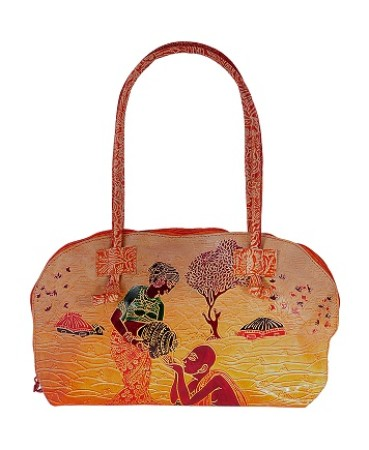 ZINT HAND TOOLED PAINTED PURE LEATHER SHANTINIKETAN ETHNIC BOHO SHOULDER BAG PURSE HANDBAG