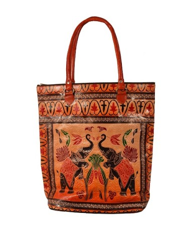ZINT HAND TOOLED PAINTED PURE LEATHER SHANTINIKETAN ETHNIC BOHO WOMEN'S LARGE HANDBAG SHOPPING TOTE BAG ELEPHANT DESIGN