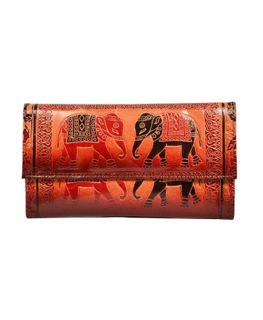 ZINT Shantiniketan Pure Leather Elephant Design Multi-Colour Women's Clutch Purse