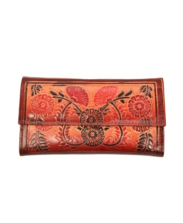 ZINT Shantiniketan Pure Leather Floral Design Multi-Colour Women's Wallet Clutch Purse
