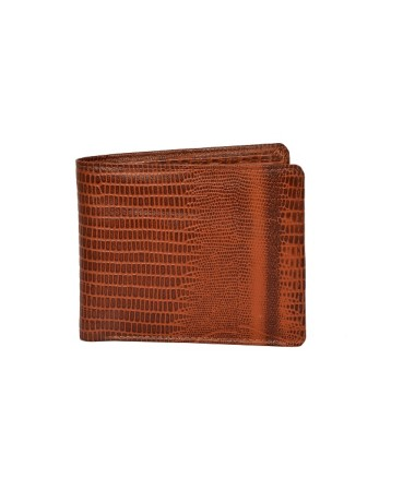 ZINT Mens Wallet Genuine Leather Bifold Credit Card Holder Brown Coin Photo ID Purse Lizard Print