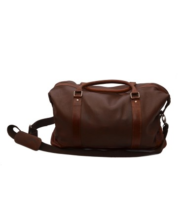 ZINT Unisex Brown Genuine Leather Travel Duffle Luggage Bag With Inner Pocket