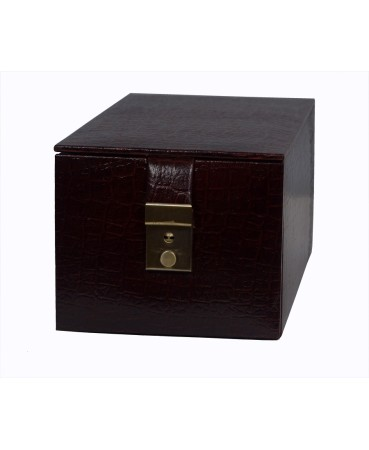 ZINT GENUINE LEATHER BROWN COMPACT TRAVEL KEY LOCK JEWELRY BOX MULTI-COMPARTMENT TRINKET CASE RINGS PENDANTS ORGANIZER