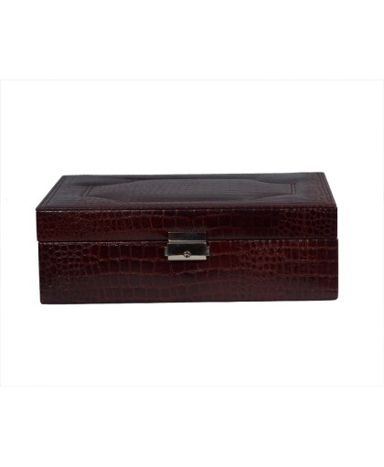 ZINT PURE LEATHER BROWN MULTI-COMPARTMENT JEWELRY BOX KEY LOCK TRINKET CASE RINGS PENDANTS TRAVEL ORGANIZER