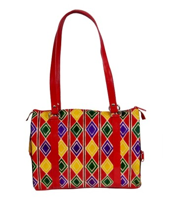ZINT GENUINE LEATHER HAND TOOLED PAINTED SHANTINIKETAN RED GEOMETRICAL PRINT HANDBAG PURSE BANJARA TRIBAL ETHNIC BOHO HIPPIE FESTIVAL TOTE