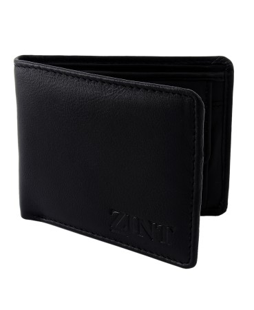 ZINT MEN'S WALLET GENUINE LEATHER BIFOLD CREDIT CARD HOLDER BLACK COIN PURSE