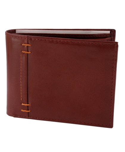 ZINT BROWN PURE LEATHER MEN'S WALLET BIFOLD CREDIT CARD HOLDER COIN PURSE