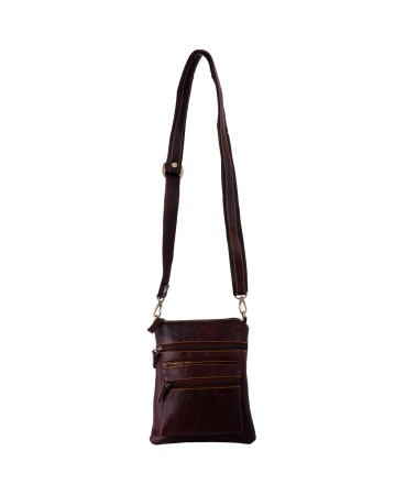 ZINT BROWN PURE LEATHER WOMEN'S SHOULDER CROSSBODY BAG GIFTS FOR HER