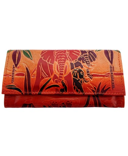ZINT Shantiniketan Pure Leather Elephant Design Multi-Colour Women's Wallet Clutch Purse