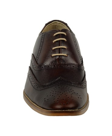 ZINT Genuine Soft Leather Men's Brown Formal Lace-up Shoes