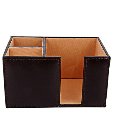 ZINT Black Pure Leather 3 Compartments Pen Stand/Holder-cum-Paper Slip Holder Office Organizer Desk Accessory