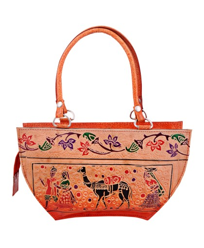 ZINT HAND TOOLED PAINTED PURE LEATHER SHANTINIKETAN ETHNIC BOHO WOMEN'S PURSE HANDBAG / CAMEL BAG