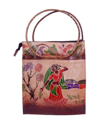 ZINT HAND TOOLED PAINTED PURE LEATHER SHANTINIKETAN ETHNIC BOHO WOMEN'S LARGE PURSE HANDBAG SHOULDER TOTE BAG