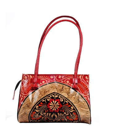 ZINT Genuine Leather Shoulder Bag Purse Handbag Tote Bag Shantiniketan Boho Ethnic Batik Design Red
