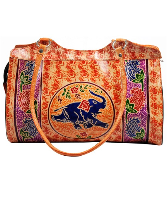 Zint Hand Tooled Painted Shantiniketan Genuine Leather Tribal Ethnic Boho Shoulder Bag Purse Handbag Vintage