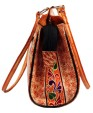 ZINT Hand Tooled Painted Shantiniketan Genuine Leather Tribal Ethnic Boho Shoulder Bag Purse Handbag / Vintage Elephant Bag