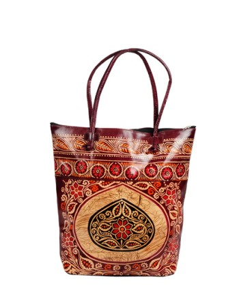 ZINT Batik Indian Shantiniketan Vintage Leather Tote Bag / Ethnic Shopping Bag / Large Boho Hippie  Bag / Colorful Leather Bag