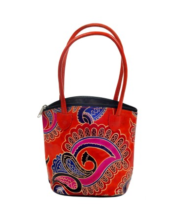ZINT PURE LEATHER FLORAL MULTI COLOR HANDBAG BOHO INDIAN SHANTINIKETAN TOOLED PAINTED ETHNIC PURSE