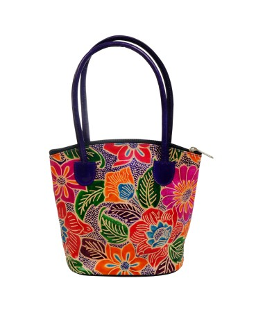 ZINT PURE LEATHER FLORAL MULTI COLOR BOHO INDIAN SHANTINIKETAN TOOLED PAINTED HANDBAG ETHNIC PURSE
