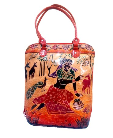 ZINT HAND TOOLED PAINTED SHANTINIKETAN GENUINE LEATHER SHOULDER BAG PURSE TOTE BEACH BAG HANDBAG TRIBAL ETHNIC BOHO SHOPPING FESTIVAL BAG